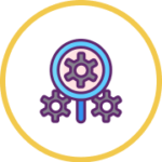 gear and magnifying glass icon
